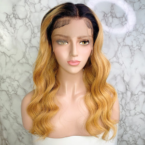 Elva Hair 150 Density Omber Color 1BT27# 13x6 Brazilian Wave Lace Front Human Hair Wigs Pre Plucked(w238)