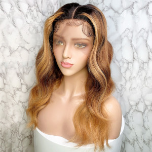Elva Hair 150 Density Ombre Color 1BT6#T27# 13x6 Brazilian Body Wave Lace Front Human Hair Wigs Pre Plucked(w234)