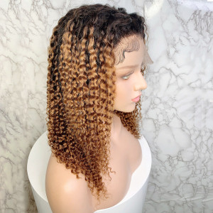 Elva Hair 150 Density Ombre Color 1BT8# 13x6 Brazilian Curly Lace Front Human Hair Bob Wigs Pre Plucked(w233)
