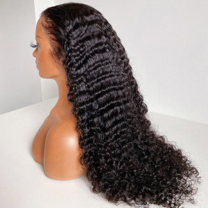 13x6 Lace Wigs Deep Wave Virgin Human Hair Pre Plucked Hairline With Baby Hair (w538)