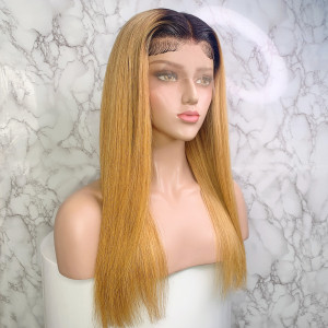 Elva Hair 150 Density Omber Color 1BT27# 13x6 Brazilian Straight Lace Front Human Hair Wigs Pre Plucked(w237)