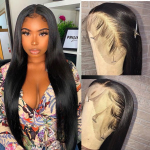 28-40inches Elva Hair 150 Density 13x6 Brazilian Straight Lace Front Wigs Pre Plucked (w247)