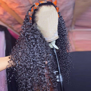 HD Lace Wig 150 Density 13x6 Brazilian Curly Lace Front Human Hair Wigs Pre Plucked (w574)