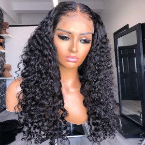 Elva Hair 360 Lace Frontal Human Hair Wigs Brazilian Hair Water Wave With Baby Hair 180% Density (w607)