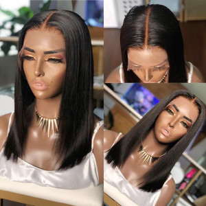 Elva Hair 150 Density Pre Plucked Straight Full Lace Wig Brazilian Remy Hair (w110)