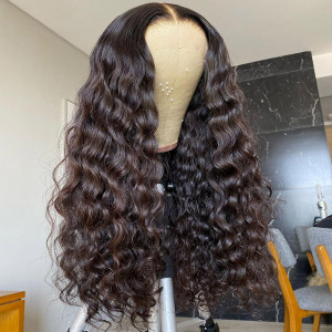 Brazilian Virgin Human Hair Water Wave Glueless 13x6 Lace Wigs Pre Plucked Hairline With Baby Hair (w486)