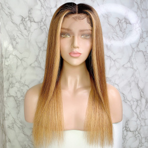 Elva Hair 150 Density Omber Color 1BT6#T27# 13x6 Brazilian Straight Lace Front Human Hair Wigs Pre Plucked(w240)
