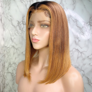 Elva Hair 150 Density Omber Color 1BT6#T27# 13x6 Brazilian Straight Lace Front Human Hair Wigs Pre Plucked(w243)