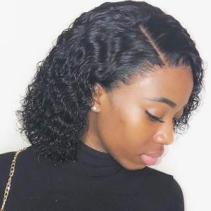 Elva Hair Full Lace Human Hair Wigs 130% Density short Bob Curly Hair (Y94)