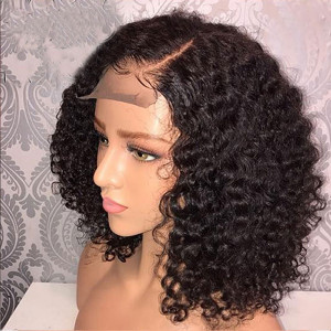 Elva Hair 150 Density 13x6 Short Curly Human Hair Wigs Brazilian Bob Lace Front Wig Pre Plucked (038)