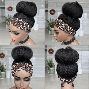 Elva Hair 150 Density Headband Wig Brazilain Kinky Straight Human Hair Wig (w508)
