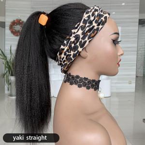 Affordable&Beginner Friendly Headband Wigs Brazilain Yaki Straight Human Hair Wig (w506)