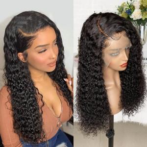 Elva Hair 150 Density 13X6 Brazilian Water Wave Lace Front Human Hair Wigs Pre Plucked (w130)