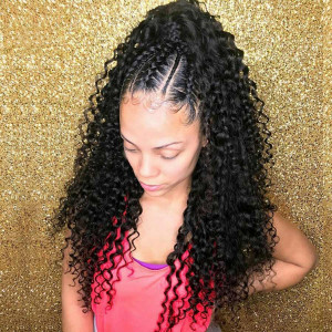 Elva Hair 130 Density 13X6 Brazilian Human Hair Curly Lace Front Wig Baby Hair (w004)