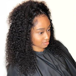 Elva Hair 130 Density Curly 13x6 Pre Plucked Brazilian Lace Front Human Hair Wig  (w103)