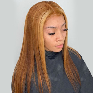 Elva Hair 150 Density Ombre Color 6T27# 13x6 Brazilian Straight Lace Front Human Hair Wigs Pre Plucked(w399)