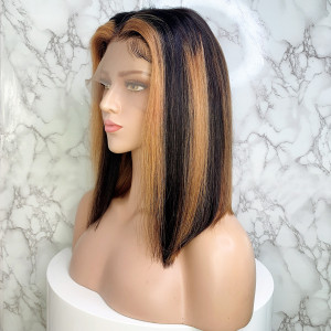 Elva Hair 150 Density Ombre Color 13x6 Brazilian Straight Lace Front Human Hair Bob Wigs Pre Plucked(w232)