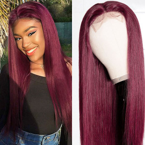 99J Color 13x6 Lace Wigs Straight Brazilian Virgin Human Hair Wigs Pre Plucked Hairline With Baby Hair (w671)