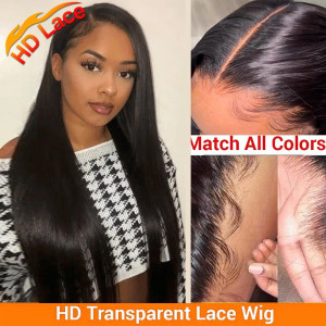 Elva Hair 150 Density 5x5 HD Lace Front Wigs Brazilian Straight Human Hair Wig Pre Plucked (w472)