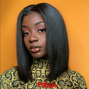 Elva Hair 360 Lace Frontal Human Hair Wigs Straight Bob 150% density Pre-Plucked hairline (Y28)