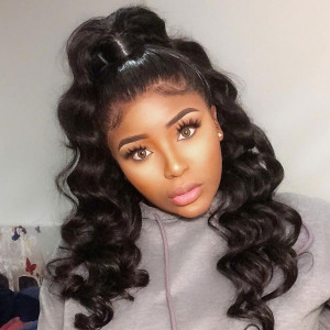 Elva Hair 150 Density Brazilian Loose Wave Silk Base Lace Front Wig With Baby Hair (w98)