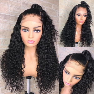Elva Hair 130 Density Pre Plucked Full Lace Human Hair Wig Brazilian Water Wave Hair  (w116)