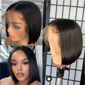 Elva Hair 2019 New Brazilian Straight 370 Lace Human Hair Bob Wigs 150 Density (W166)