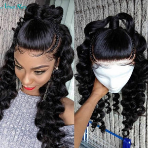 26-34inches Elva Hair 150 Density 13x6 Brazilian Loose Wave Lace Front Wigs Pre Plucked (w249)