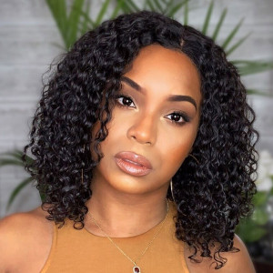 Elva Hair 150 Density Brazilian Full Lace Human Hair Wigs Short Curly Wigs (w126)