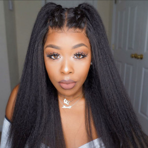 Elva Hair 13x6 Lace Front Wigs Yaki Straight 150% Density Brazilian Remy Hair (Y104)