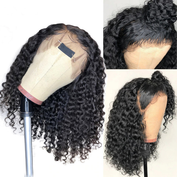 Pre Plucked Brazilian Short Curly Human Hair Full Lace Wigs 130 Density W120