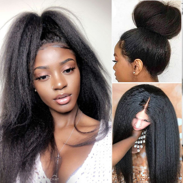 150 Density 13x6 Lace Front Human Hair Wigs Yaki Straight Hair With Baby Hair Glueless Lace Wigs Pre Plucked Hairline Brazilian Remy Hair Y104