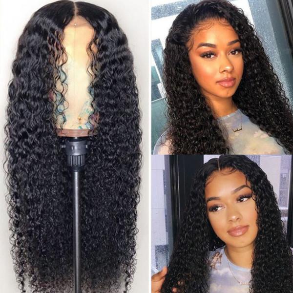 Elva Hair 150 Density Brazilian Curly 370 Fake Scalp Wig Human Hair Wigs W212