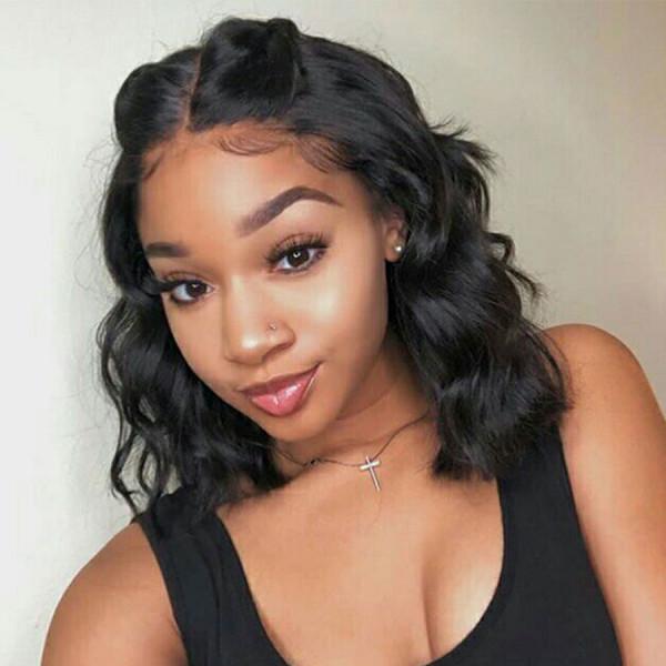 150 Density 13x6 Brazilian Short Human Hair Wigs For Black Women Lace Front Wigs Pre Plucked 035
